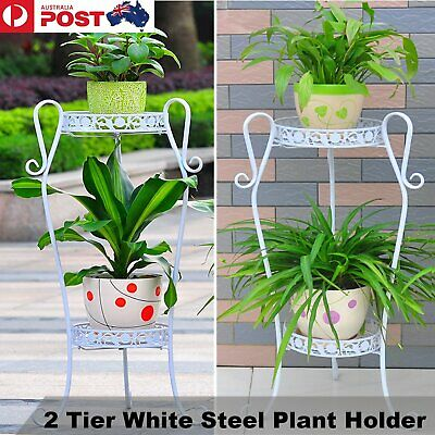 2Tier Iron Plant Flower Pot Metal Stand Holder Folding Flowers Garden White Deco