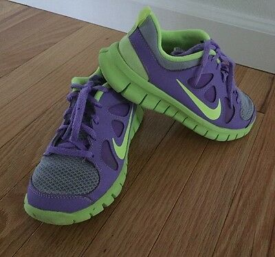 Nike Free 5.0 Gs Big Kids 580565-075 Purple Volt Running Shoes Youth Size 1.5Y