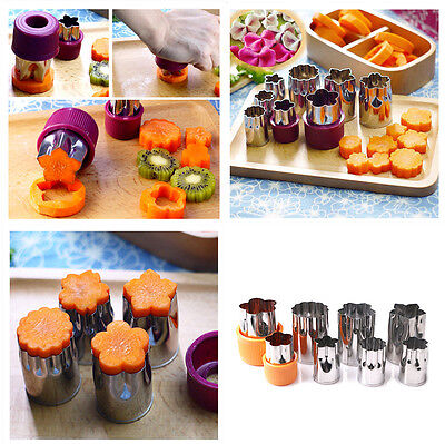 Set of 8pcs Stainless Steel Flower Shape Rice Vegetable Fruit Cutter Mold Slicer