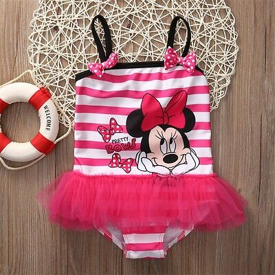 Toddler Girl Baby Kids Cartoon Tutu Swimsuit Beachwear Skirt Dress Bathing Suit