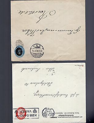 Denmark 2x pre-paid covers inc uprated 1904/1931 ? see scans x2