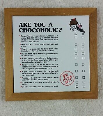 Vintage 1986 The Joy of Pigging OUT Are You A Chocoholic? Ceramic Wall Plaque