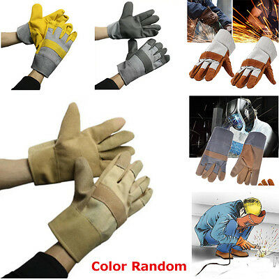 2pcs Pro Safe Welding Work Soft Cowhide Leather Plus Gloves For Protecting Hand