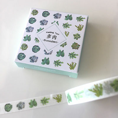 Washi Tape Thin Skinny Twilight Boxed Cactus Succulent 8Mm X 8Mt Plan Craft