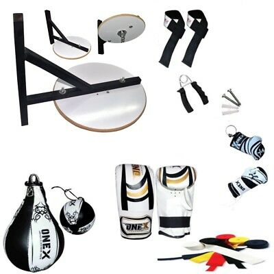 10 PC Speed Ball Platform Set Boxing Gloves Swivel Stand Bracket Speedball Mitt