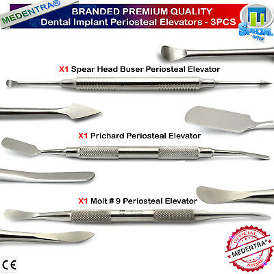 3PCS Dental Implant Periosteal Elevators Prichard Surgical Molt Elevator Buser