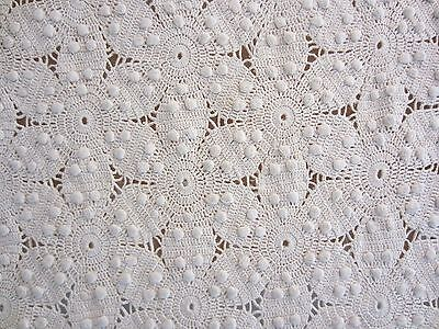 Antique Cream Cotton Hand Crocheted Open-Weave Bed Spread Cover~Twin/Sgl~Fringe~