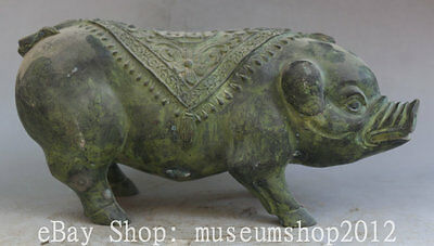 "14"" Old Chinese Bronze Fu Zodiac Year Pig Lucky Flower Animal Statue Sculpture"