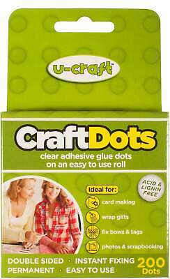 36 x U-Craft 10mm Craft Glue Adhesive Dots Permanent 200 per roll 201061