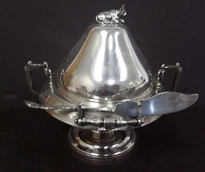 Rare RACINE Silver Plate Co. SILVERPLATE BUTTER DISH with FIGURAL COW # 53