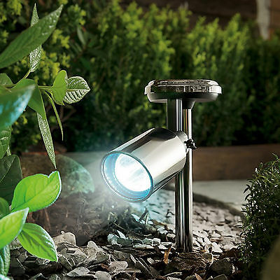 Black Nickel Solar Spotlight Garden Lighting Spot Stake Summer