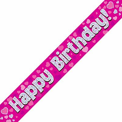 Happy Birthday Pink & Silver Oaktree Foil Banner - 2.7m