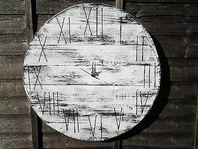 Huge 70cm Round Board Handmade Rustic White Wood Shabby Chic Vintage Wall Clock