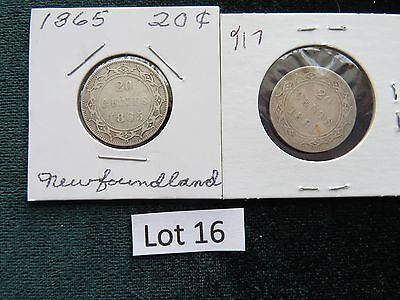 Lot of (2) 1865, 1881  Newfoundland 20 Cent Pieces Silver Coins Canada (Lot #16)