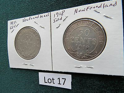 Lot of (2) 1911, 1918 -  50 CENT -SILVER  NEWFOUNDLAND Coins (Lot #17)