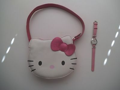 """Hello Kitty Purse 6"""" H X 7 1/2"""" W With Strap And Watch"""