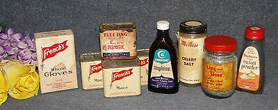 Vintage Lot Of Seasoning Tins & Jars - Mcness / Durkee's / French's & More