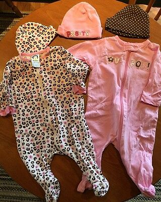 Lot of 2 Girls Size 0-3 Months One-Piece Gerber Sleeper and hats Pink Leopard