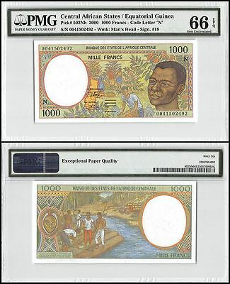 Central African States 1,000(1000) Francs,2000,P-502Nh,UNC,Man's Head,PMG 66 EPQ