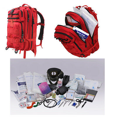 Red First Responder Aid EMS 200p Military EMT Trauma Kit Transport Pack Backpack