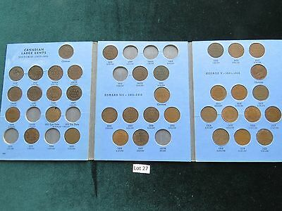 Partial Set Canada Large Cents 1C (1858-1920) 37 Coins (Lot #27)
