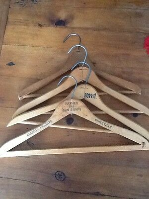 Vintage Antique Wooden  Clothing Hangers Lot Of 4