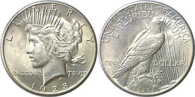 1928 $1 Silver Peace Dollar Almost Uncirculated