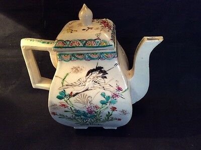 Antique Chinese Teapot Hand Made And Painted Signed