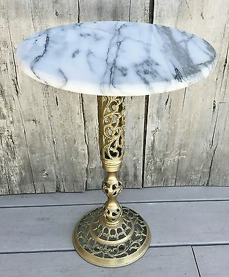 Vintage Mid-Century Marble Top Moroccan Pierced Brass Pedestal Small Side Table