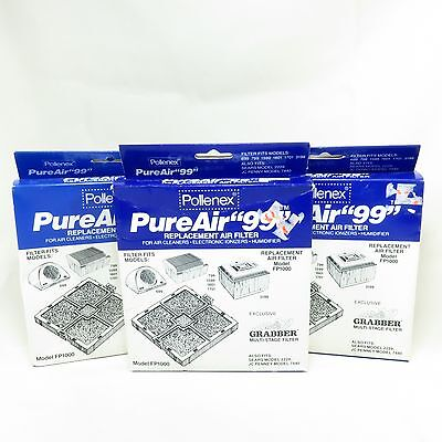 Lot of 3 Pollenex PureAir 99 Replacement Air Filters FP1000 Humidifier Ionizers