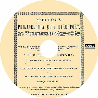 McElroy's Philadelphia City Directory Collection {1837-1867} 30-Volumes on DVD