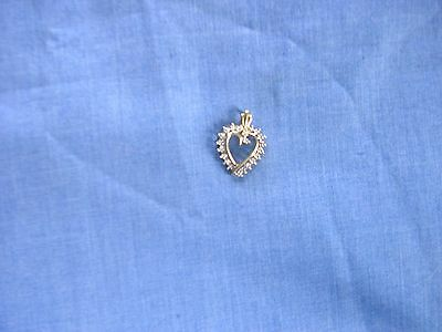 Not Scrap 10K Solid Gold Pendant Heart with small white stones Jewelry Perfect