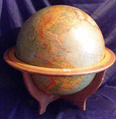 Vintage 16in Rand McNally Physical Political Globe Wood Stand Scale 1:31,680,000