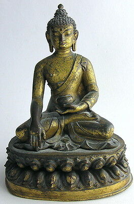 "Old 6"" Chinese Gilt Bronze Seated Buddha on Lotus Figure / Statue / Sculpture"