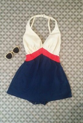 Vintage Sears 1960's Red White and Blue Swim Suit Dress Harness Back USA Small