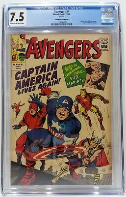 Avengers #4 1966 Golden Record Reprint CGC Graded 7.5 Cream/OW Pages 1st SA Capt