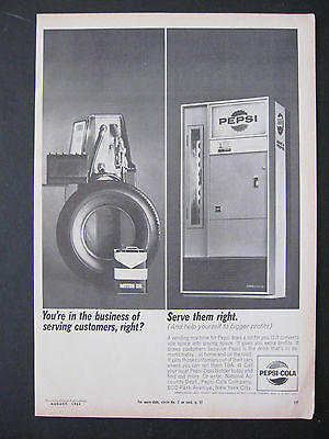 Vintage 1964 Pepsi Cola Serve Them Right Gas Station Ad Print Advertisement Page