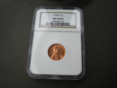 1958 D Lincoln Wheat Cent NGC graded MS 66 RD (ms 66 red)