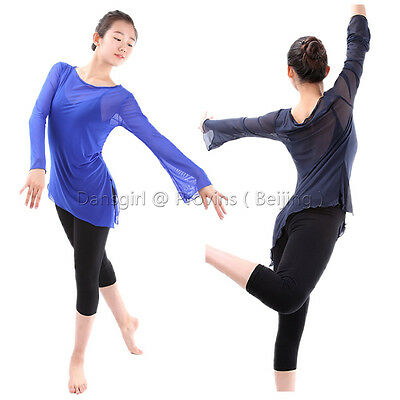 Dansgirl Brand Lyrical  Long Flare Sleeve Mesh Dance Top With Various Colors