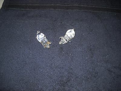 Miniature Clear Glass Crystal Pig Figurines  Lot of 2