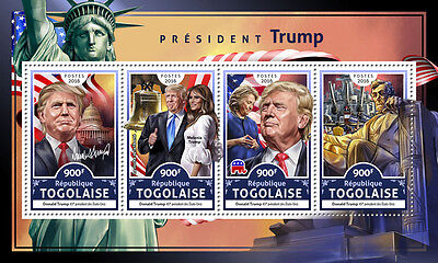 Togo 2016 MNH Donald Trump US Presidents Lincoln 4v M/S Statue of Liberty Stamps