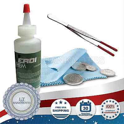 Verdi Care US Silver Coin Conservation Fluid Cleaning Kit Microfiber Cloth Tongs