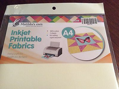 Matilda's Own Inkjet printable fabric A4 x 5 sheets