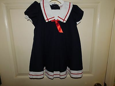 Rose Cottage Toddler Girls Sz 3T Short Sleeve Navy Blue Pleated Front Dress EUC