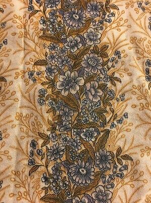 Retro Vintage 60s Curtain Fabric Floral Blue Yellow Flowers