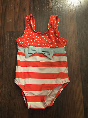 Size 6-12m multi-color STRIPED/POLKA DOT ONE PIECE swimsuit by GYMBOREE