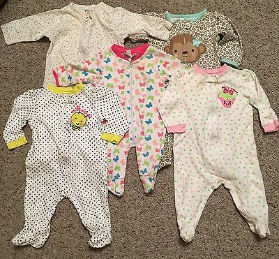 5 Baby Zip Up Sleepers Size 3-6 Months