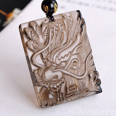 100%Natural Ice Obsidian Hand Carved Chinese Dragon Luck Amulet Pendant Necklace