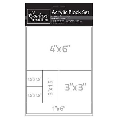 Couture Creations 'ACRYLIC BLOCK SET' 6pcs Card Making/Stamping *NEW*