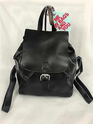 75d0360dd0 New Co-Lab Christopher Kon Black Leather Flap Over Drawstring Backpack Bag  4350